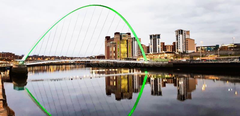 Gateshead Millennium Bridge, Newcastle at night stock image