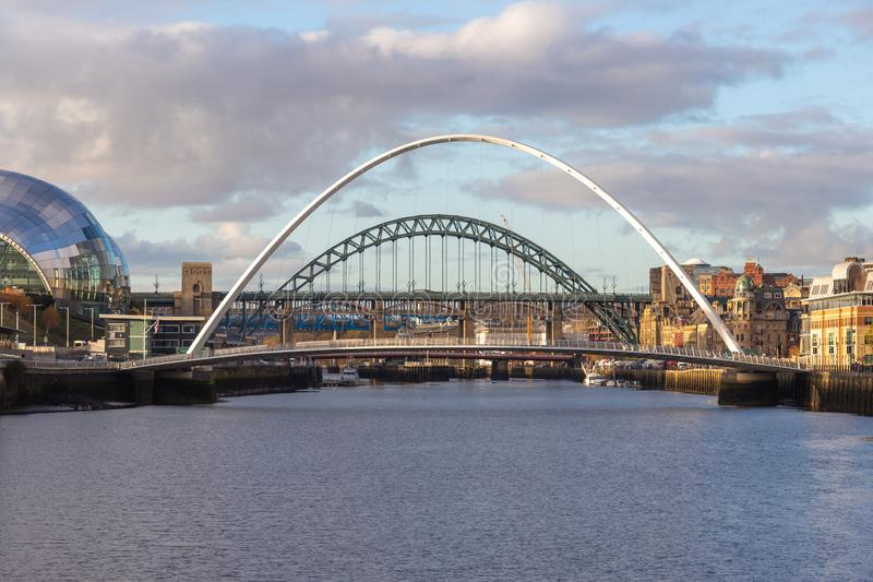 Gateshead Millennium and Tyne Bridge over the River Tyne, Newcastle, UK. With Gateshead Sage building, the High Level and the Queen Elizabeth II bridges in the royalty free stock images