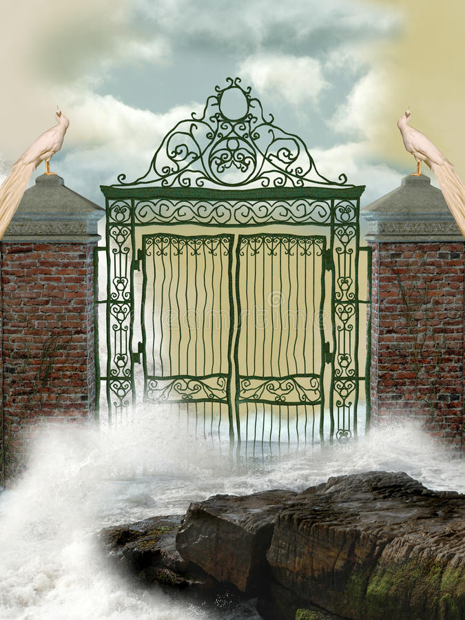 Gateway. In the ocean with waves vector illustration