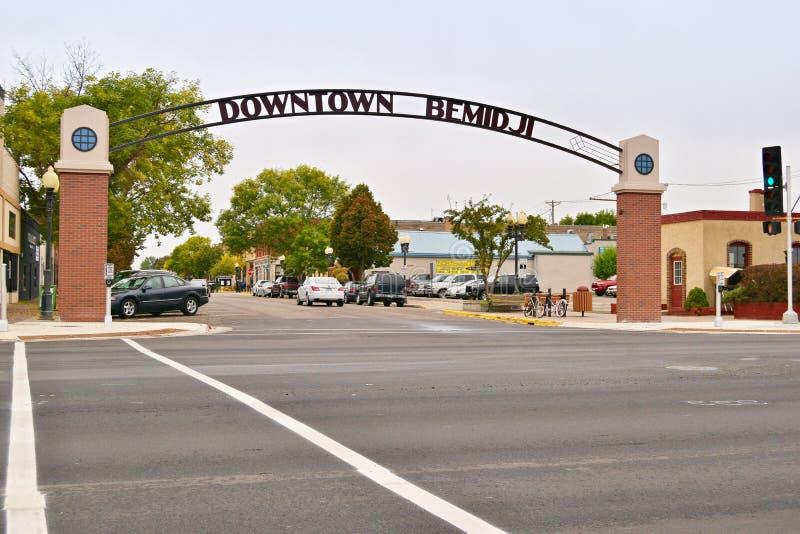 Gateway aan Bemidji Van de binnenstad, Minnesota royalty-vrije stock fotografie