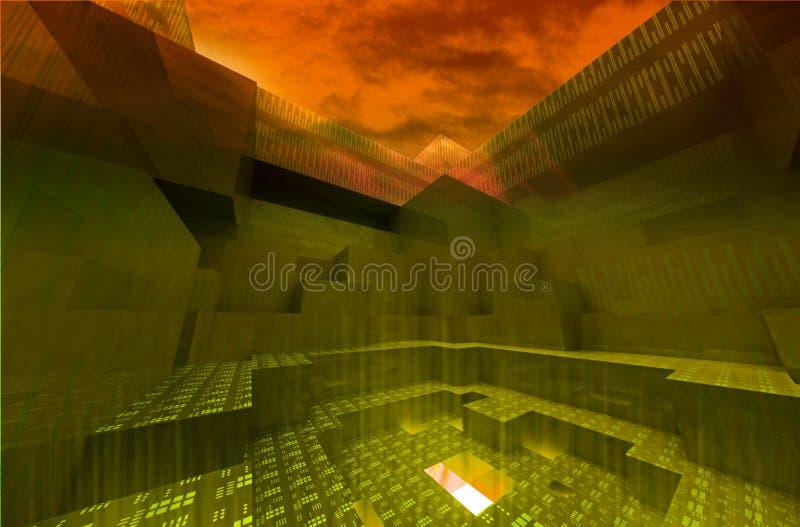 Gateway abstrait à la pègre avec le ciel foncé illustration stock