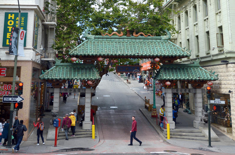 Gateway Arch Chinatown in San Francisco California. SAN FRANCISCO - MAY 19 2015:Gateway Arch (Dragon Gate) on Grant Avenue Chinatown in San Francisco California royalty free stock photos