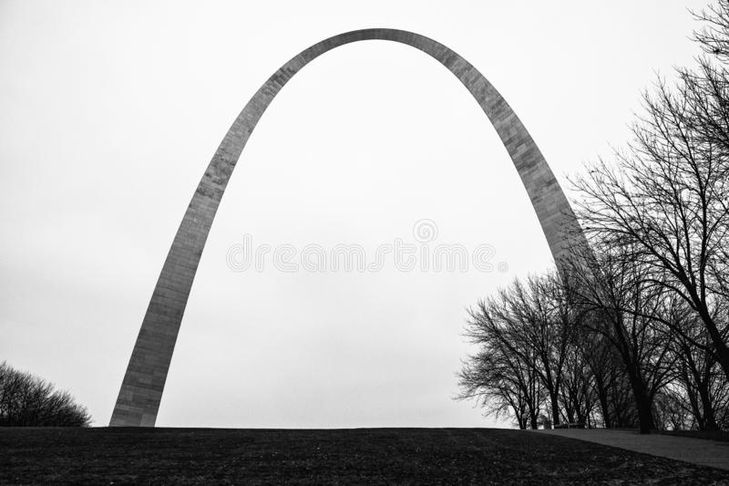 The Gateway Arch, St. Louis, Missouri. The Gateway Arch, a 630-foot 192 m monument in St. Louis, Missouri, USA, the world`s tallest arch, the tallest man-made royalty free stock images