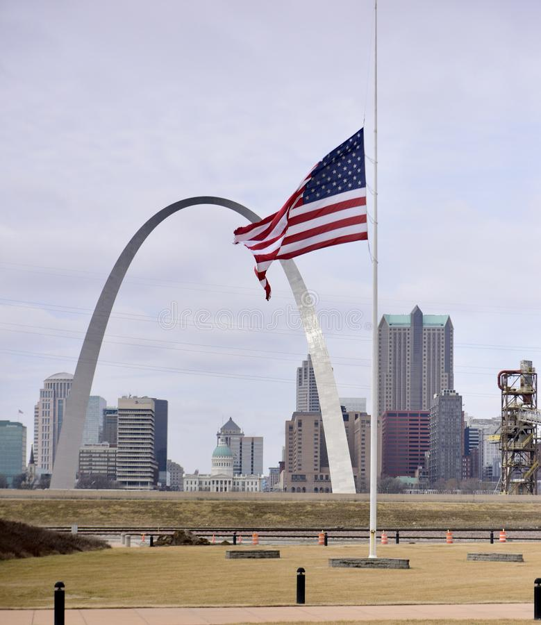 Gateway Arch and Half Mast Flag royalty free stock images