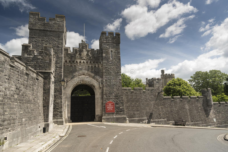 Gateway Arundel Castle Arundel West Sussex. Arundel Castle is a restored and remodelled medieval castle in Arundel, West Sussex, England. It was established by stock photography