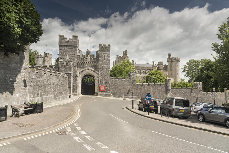 Gateway Arundel Castle Arundel West Sussex. Arundel Castle is a restored and remodelled medieval castle in Arundel, West Sussex, England. It was established by stock image