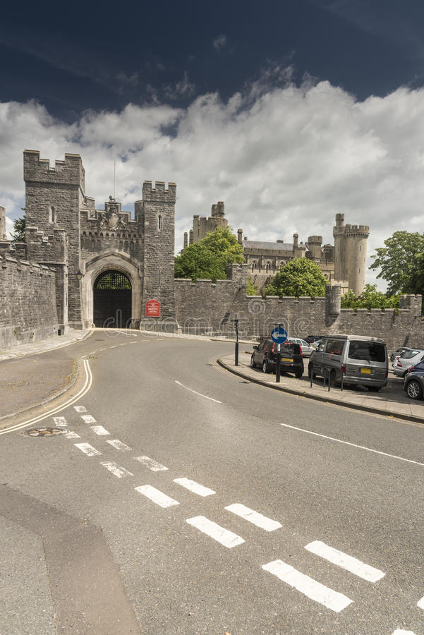 Gateway arundel Castle Arundel West Sussex. Arundel Castle is a restored and remodelled medieval castle in Arundel, West Sussex, England. It was established by stock images