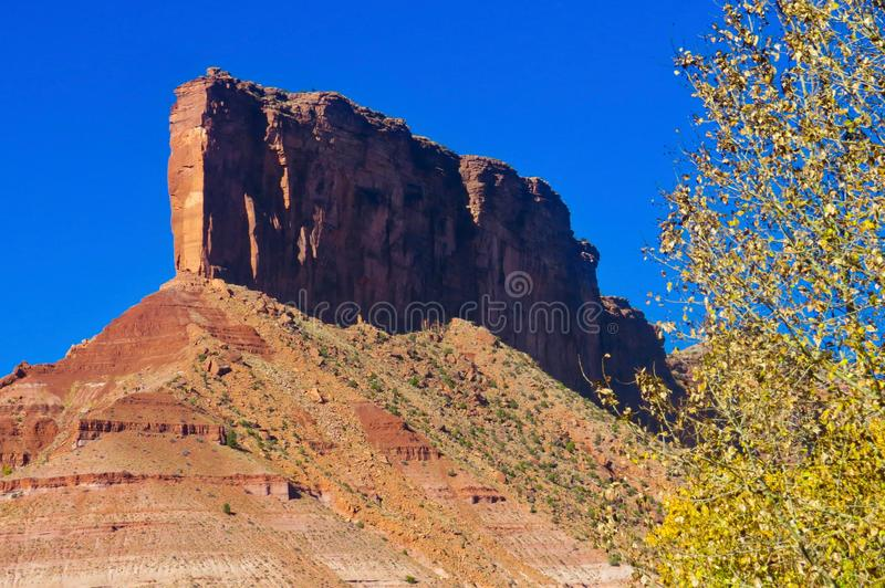 Palisades Butte From Gateway Canyons. Gateway Canyons Resort is a premier destination for fine dining, upscale accommodations, and scenic views stock image