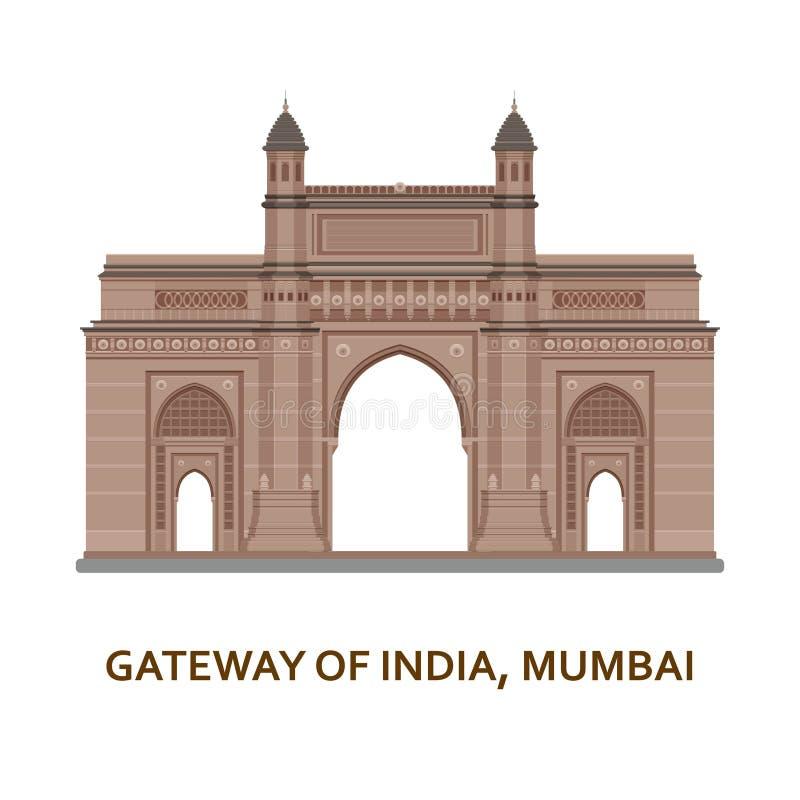 Gateway de l'Inde, Mumbai Vue la plus célèbre indienne Bâtiment architectural Attractions touristiques célèbres Vecteur illustration de vecteur