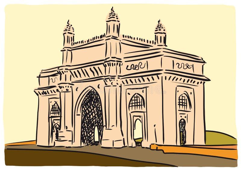 Gateway de Mumbai de l'Inde illustration de vecteur