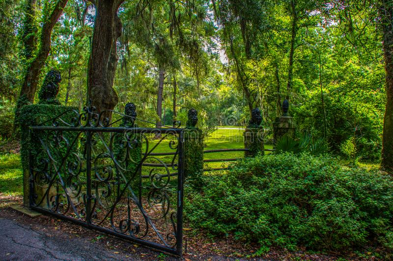 Gateway Overgrown With Greenery. An elegant plantation gateway in afternoon shade on a summer day in South Carolina stock images