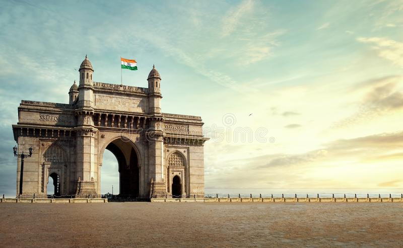 Gateway Of India Mumbai. The Gateway of India is an arch monument built during the 20th century in Mumbai, India. The monument was erected to commemorate the royalty free stock image