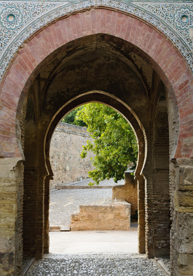 Gateway inside the Alhambra, Granada, Spain. The so called Puerta del vino (Wine Gate), great example of Moorish architecture, providing access to the Alcazaba royalty free stock photo