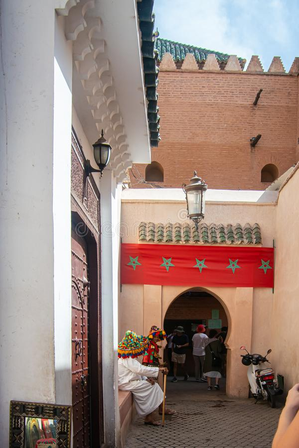 Gateway of Saadiaanse tombs in de stad Marrakech, Marokko royalty-vrije stock fotografie