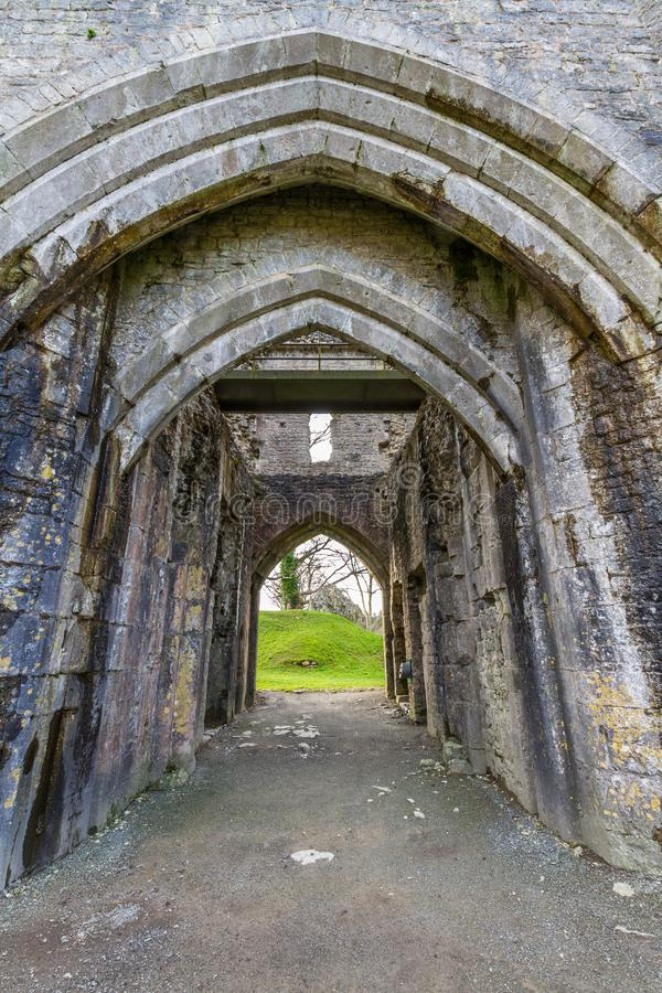 Gateway of St Quentin`s Castle, Llanblethian, South Wales. stock photos