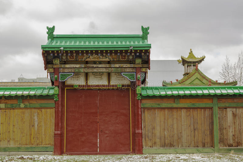 Gateway to Bogdkhaan Palace, Winter Palace of the Bogd Khan stock photo