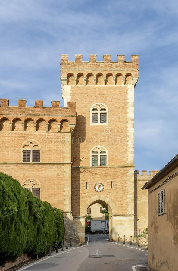 The gateway to the medieval village of Bolgheri, province of Livorno, Tuscany, Italy. Europe stock photography