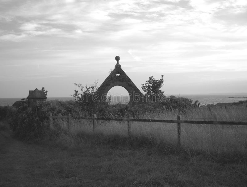 Gateway to the Ocean in black and white royalty free stock photo