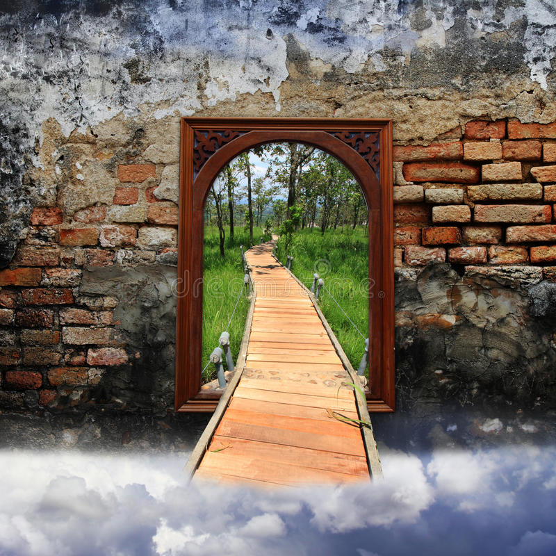 Gateway to the world of adventure. Abstract Gateway to the world of adventure stock images