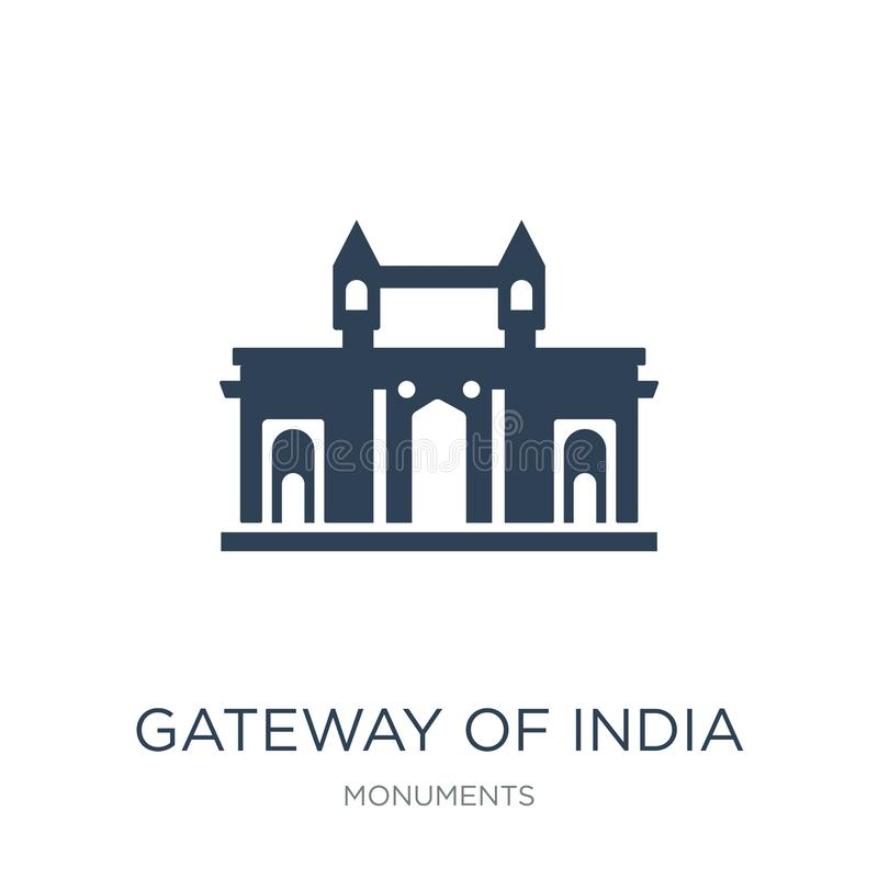 gateway van het pictogram van India in in ontwerpstijl gateway van het pictogram van India op witte achtergrond wordt geïsoleerd  vector illustratie