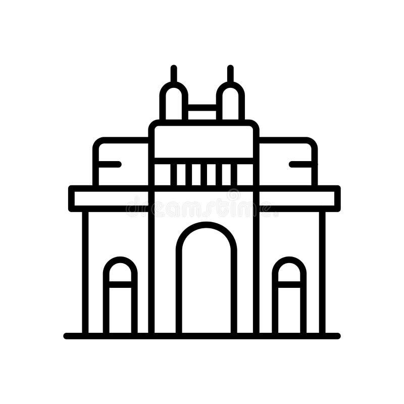 Gateway van het pictogramvector van India op witte achtergrond wordt geïsoleerd, Gateway van het teken van India, lijn of lineair vector illustratie