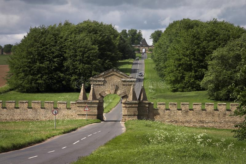 Gateways along The Stray at Castle Howard. The Stray Walls are an outlying feature of Castle Howard, they were designed by Vanbrugh and built soon after the main royalty free stock photo