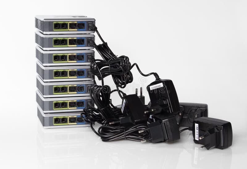 Gateways do voip da telecomunicação foto de stock