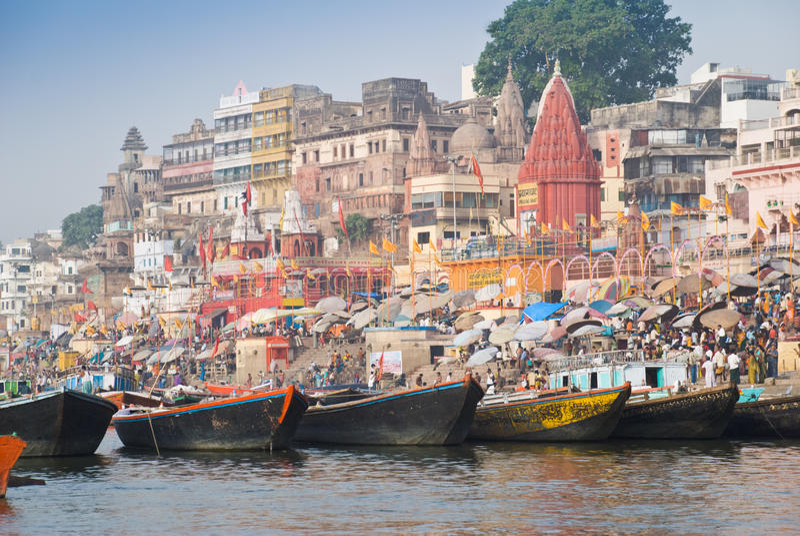 Gath de la cañería de Varanasi imagenes de archivo