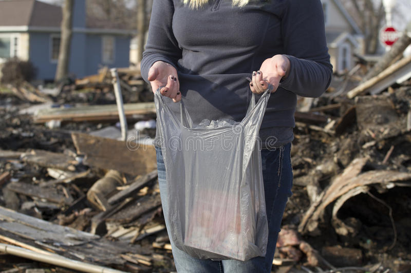 Download Gathering Belongings After House Fire Stock Image - Image: 27969005