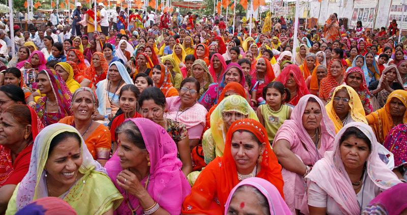 A gathering of brahmin women. During a marriage match making in pushkar, india stock image