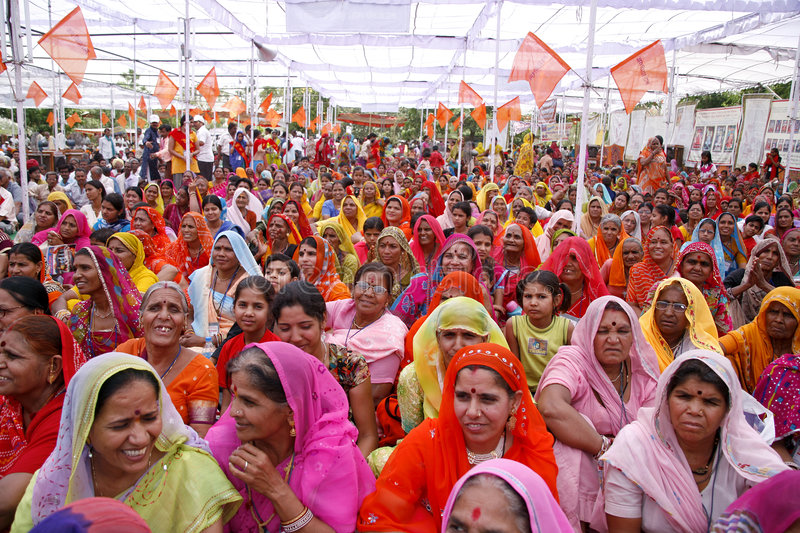 A gathering of brahmin women. During a marriage match making in pushkar, india stock photos