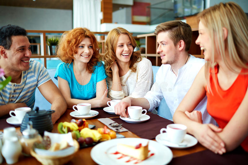 Gathering of friends royalty free stock photos