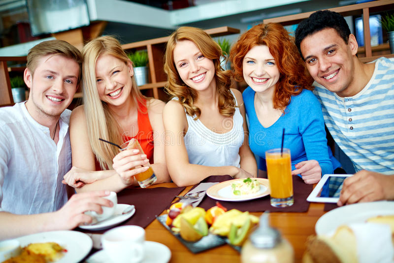 Gathering of teens royalty free stock image