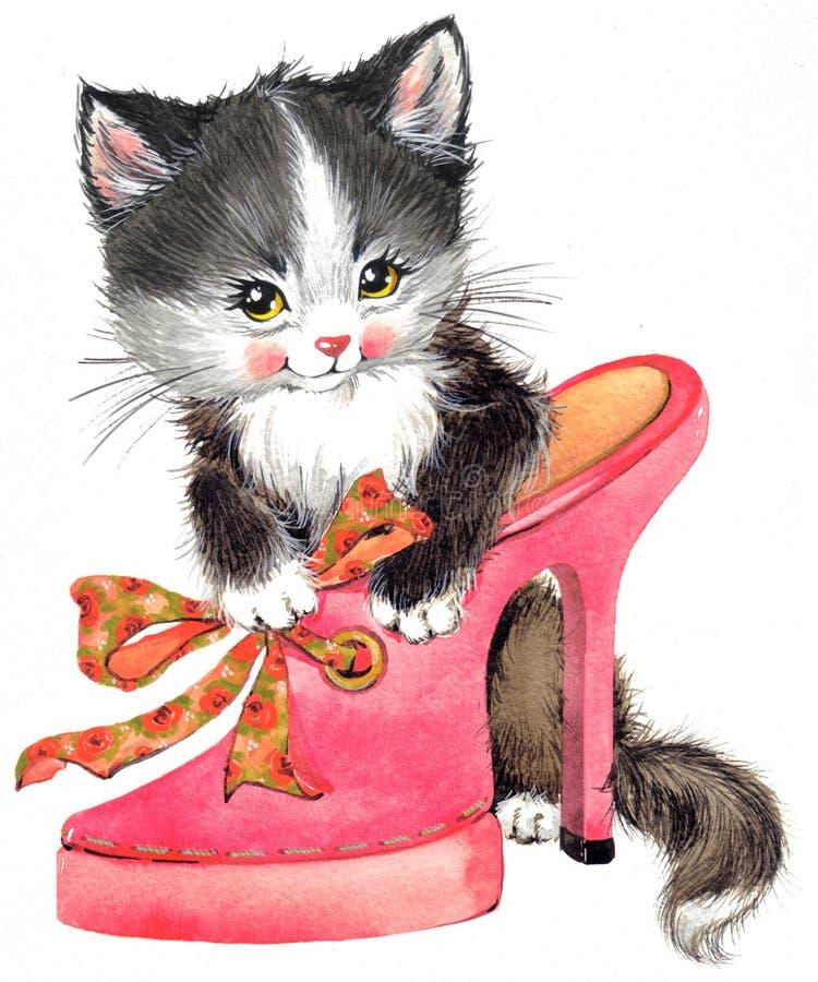 Gatinho animal engraçado watercolor ilustração do vetor