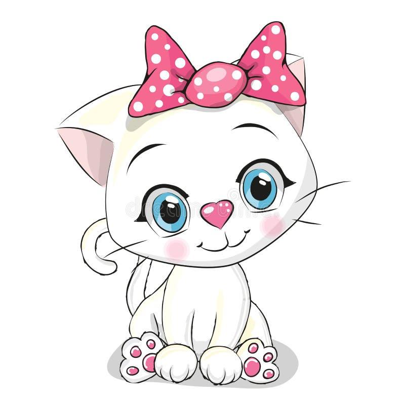Gatinho bonito do branco dos desenhos animados ilustração royalty free