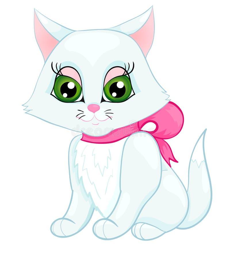 Gatinho branco bonito com uma curva cor-de-rosa em sua garganta ilustração do vetor