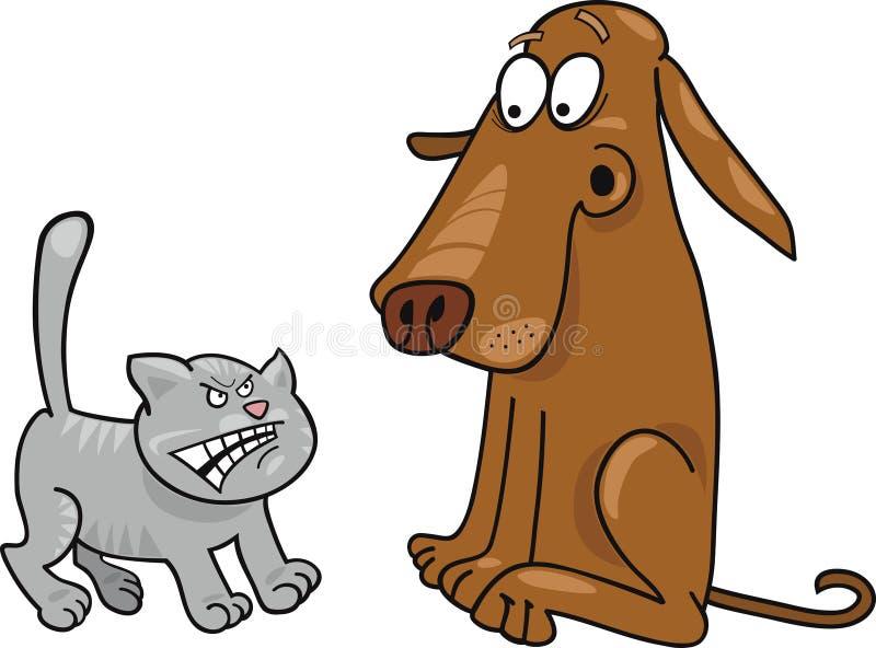 Gatinho e cão ilustração stock
