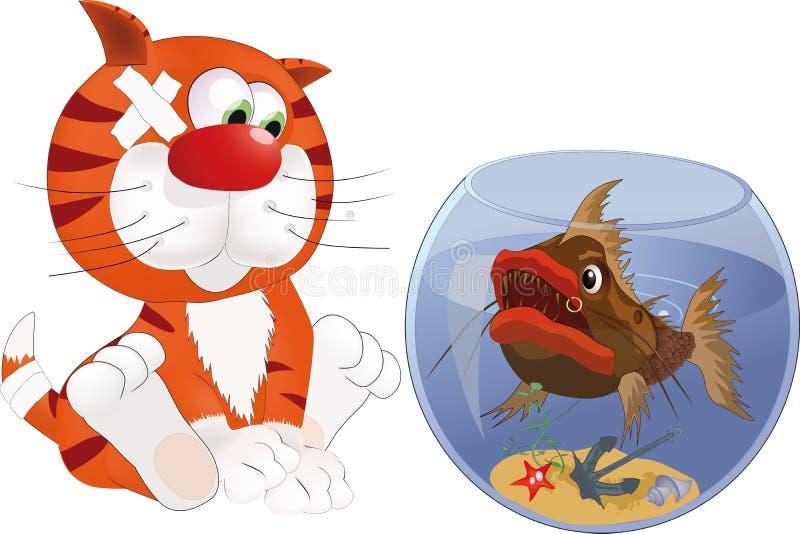 Gatinho e peixes ilustração do vetor