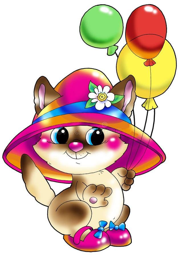 Gatinho em um chapéu e em sapatas com esferas. ilustração royalty free