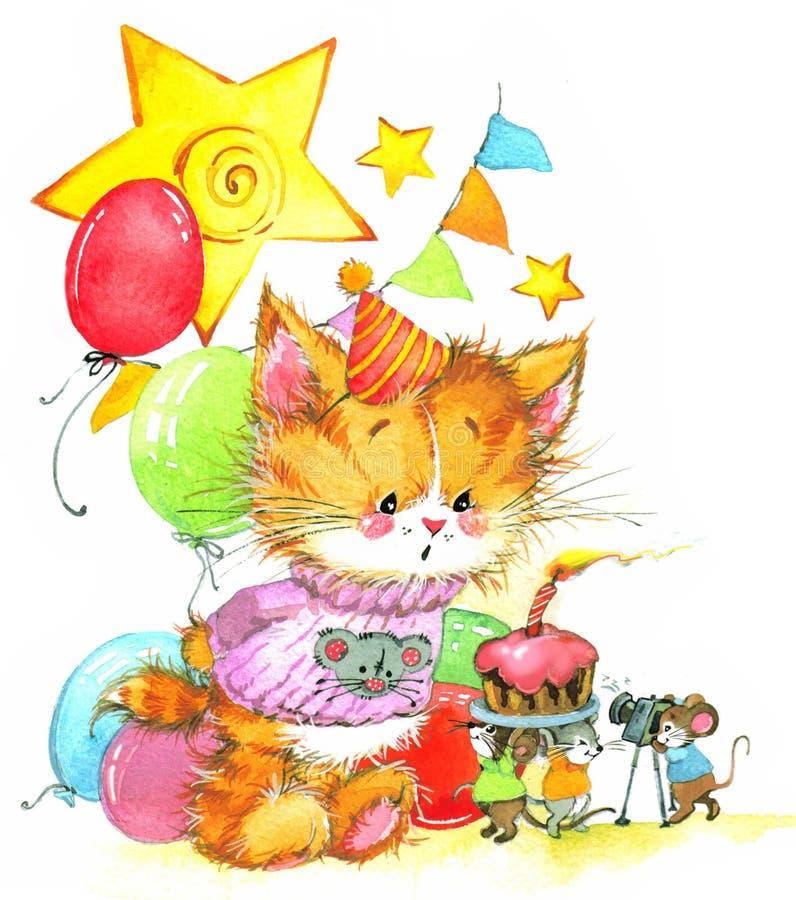 Gatinho engraçado decoração para o fundo do aniversário da criança para o feriado wat ilustração stock