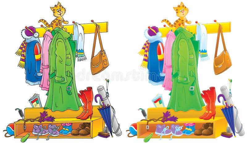 Gatinho engraçado que senta-se em uma cremalheira do revestimento ilustração royalty free