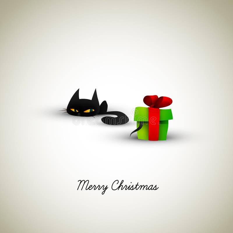 Gatinho excitado sobre o presente de Natal ilustração stock