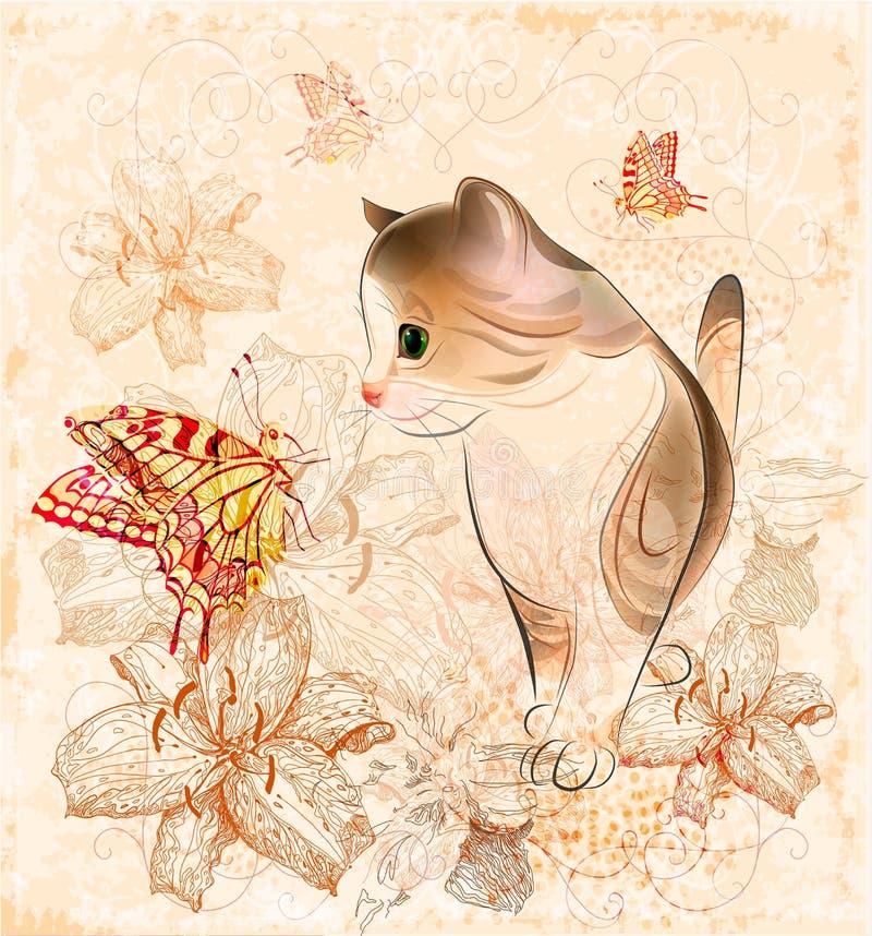 gatinho, flores e borboletas pequenos ilustração stock