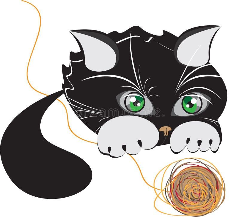 Gatinho preto pequeno que joga com uma esfera do fio ilustração stock
