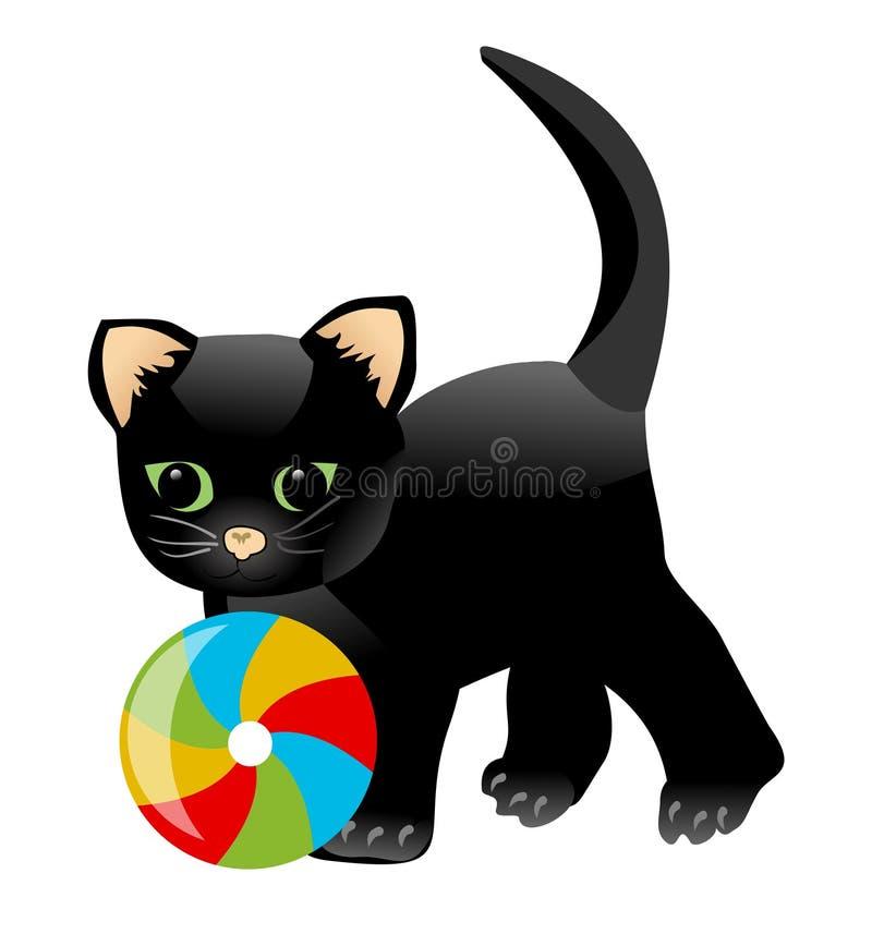 Gatinho Preto Que Joga Com Bola Colorida Desenhos Animados