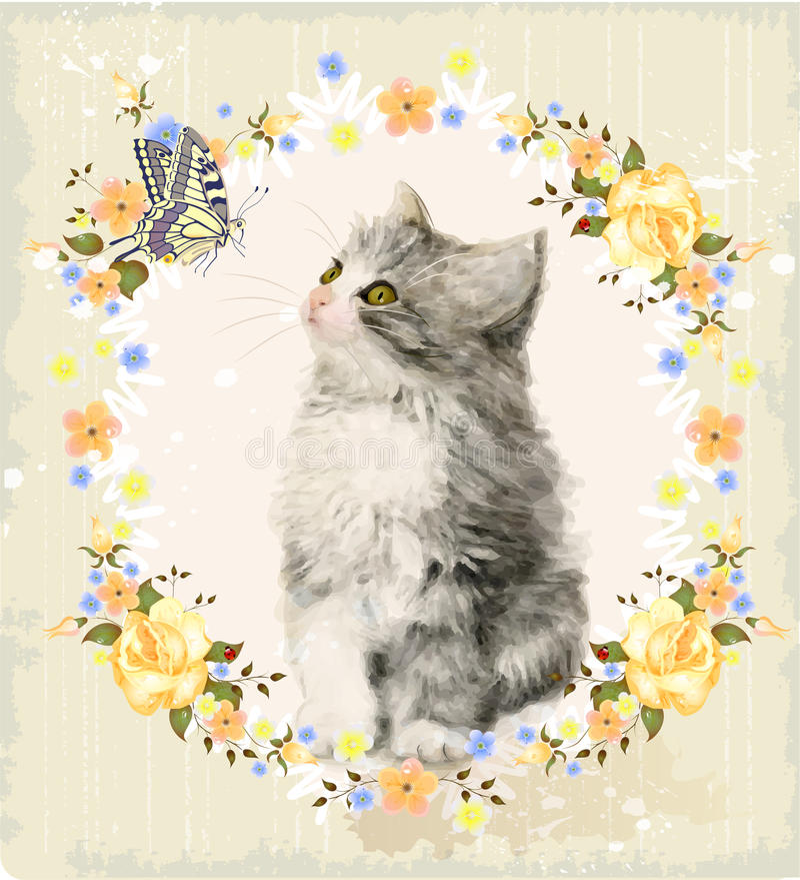 gatinho, rosas e borboleta ilustração do vetor