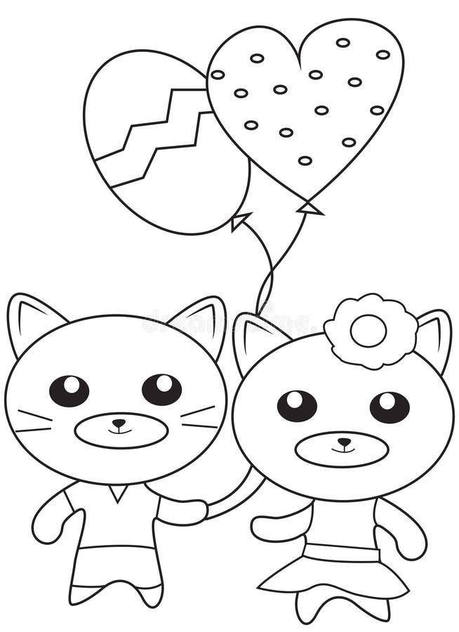 Gatinhos com os balões que colorem a página ilustração do vetor