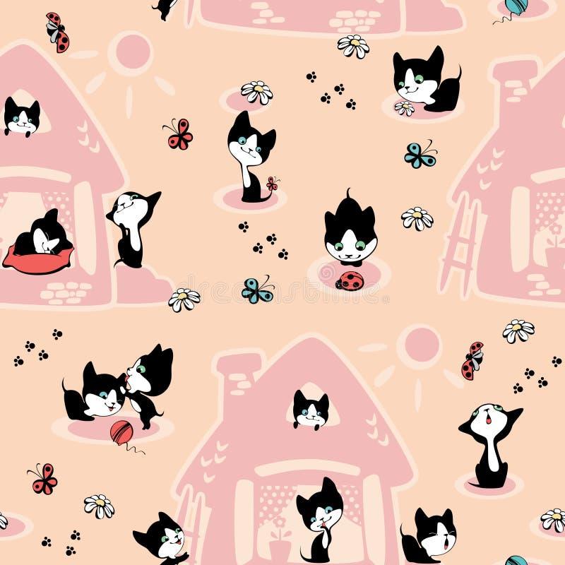 Gatinhos na casa. Papel de parede. ilustração royalty free