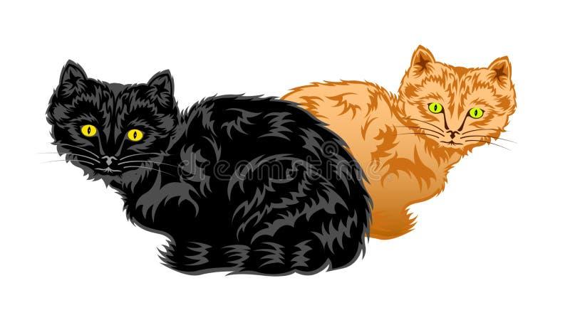 Gatinhos pretos e arenosos ilustração do vetor