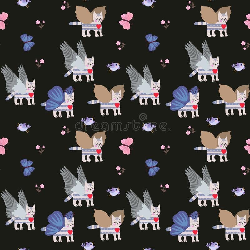 Gatinhos voados do gato malhado, flores pequenas e borboletas azuis no teste padr?o sem emenda do fundo preto para crian?as ilustração do vetor